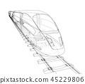 train, wireframe, railway 45229806