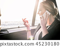Businesswoman communicating on cellphone in car 45230180