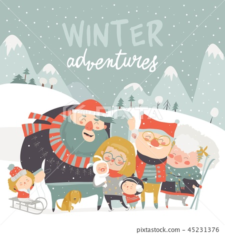 Winter season background people characters. Winter outdoor activities. People have fun 45231376