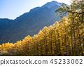 長野長野縣Kamikochi,Karamatsu和北阿爾卑斯山在秋天 45233062