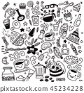 Collection of hand drawn outline .isolated  45234228