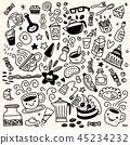 Collection of hand drawn outline .isolated  45234232