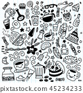 Collection of hand drawn outline .isolated  45234233