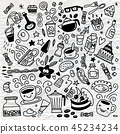 Collection of hand drawn outline .isolated  45234234