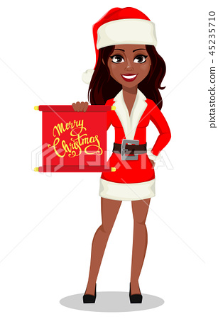 African-American woman in Santa Claus costume 45235710