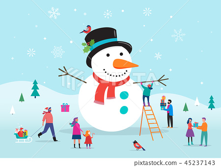 Merry Christmas card, background, bannner with a huge snowman and small people, young men and women 45237143