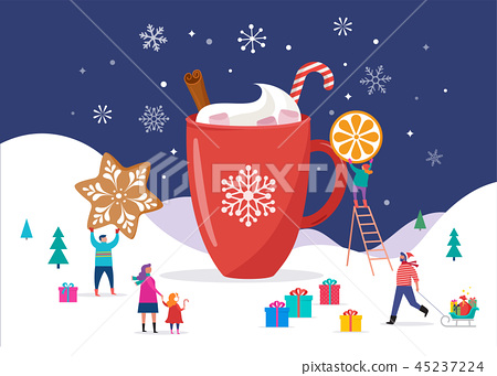 Merry Christmas, winter scene with a big cocoa mug and small people, young men and women, families 45237224