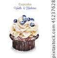 cupcake, blueberry, cream 45237628