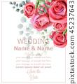 Rose flowers wedding card watercolor Vector 45237643