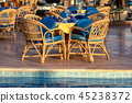 Poolside Set Dining Table with Wicker Chairs 45238372