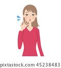 女性的面部表情 45238483