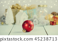 Christmas decorations on wooden bac 45238713