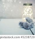 Christmas fairy lights in a mason jar  45238720