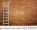 White ladder against and old a red brick wall  45239400