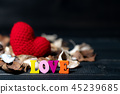 Colorful of wooden love text with aroma flowers 45239685