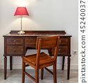 Furniture in the room, wooden antique table and rare lacquered chair. 45240037