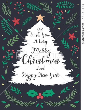 Christmas and New year greeting or invitation card - Stock ...