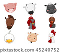 Farm Animals Head Illustration 45240752
