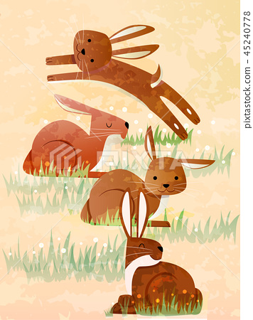 Droves Of Hares Illustration 45240778