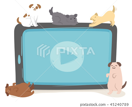 Dogs Tablet Play Video Illustration 45240789