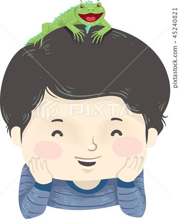Kid Boy Pet Iguana Illustration 45240821