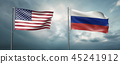 two state flags of America and Russian federation 45241912
