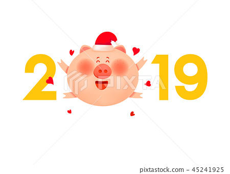 Colored numbers  2019 with a fat pig and hearts 45241925