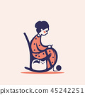 Knitting woman on a chair, vector illustration 45242251