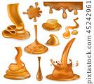 Caramel splash vector sweet flowing liquid sauce or pouring chocolate cream illustration set of 45242961