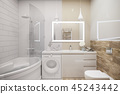 3d illustration of an interior design of a white minimalist bathroom 45243442