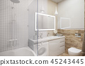 3d illustration of an interior design of a white minimalist bathroom 45243445