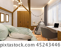 3d render Children's playroom and bedroom in the Scandinavian style 45243446