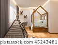 3d render Children's playroom and bedroom in the Scandinavian style 45243461