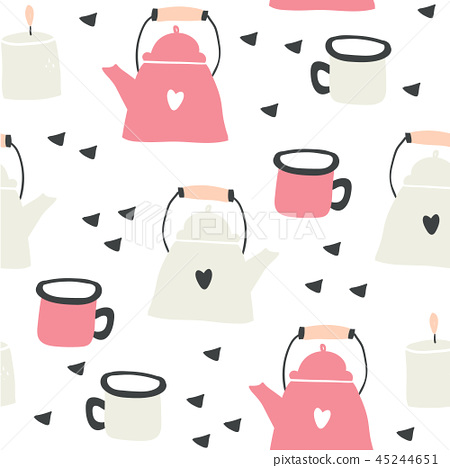 Kettles and mugs seamless pattern with hearts 45244651