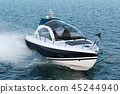 Motorboat in the sea, 3D rendering 45244940