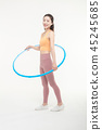 Korean woman exercising hula hoop 45245685