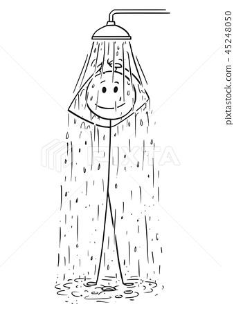 Cartoon of Man Taking a Shower 45248050