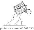 Cartoon of Man or Businessman Carrying Treasure Chest 45248053