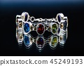 Silver bracelet with color jems Jewelry isolated  45249193