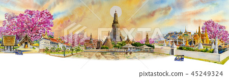 Panorama view famous landmarks in Thailand. 45249324