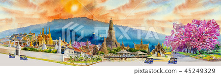 Panorama view famous landmarks in Thailand. 45249329