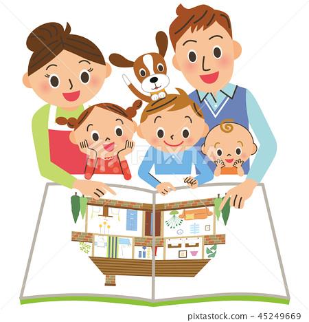 看住房小冊子的家庭 45249669
