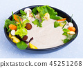 Mushroom cream soup boiled with honey fungus, served with vegetables 45251268