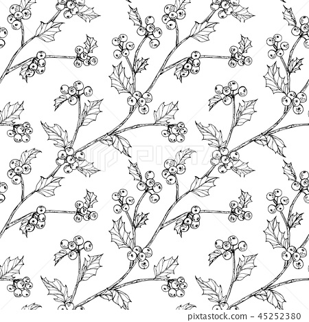 holly beries leaf pattern seamless background. 45252380