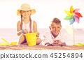 beach, children, playing 45254894