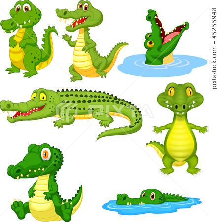 Cartoon green crocodile collection set 45255948