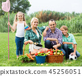 Family of four resting at countryside. 45256051
