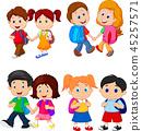 Cartoon school children with backpacks 45257571