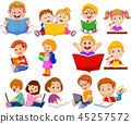 Cartoon school children reading book and operating 45257572
