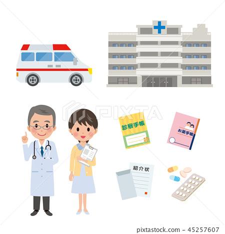 救護車醫院醫生例證集合 45257607